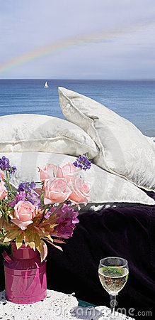 Pillows by ocean view