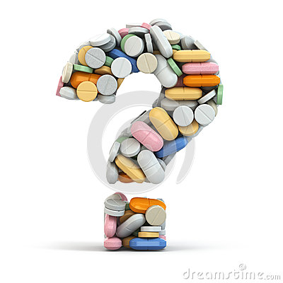Free Pills As Question. Medical Concept. Royalty Free Stock Images - 34883239