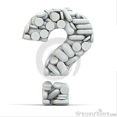 Pills as question. Medical concept. 3d