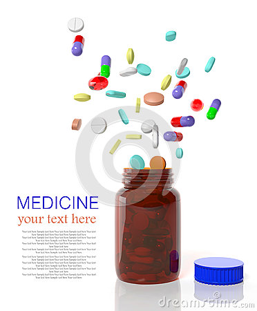 Pills come out from a bottle