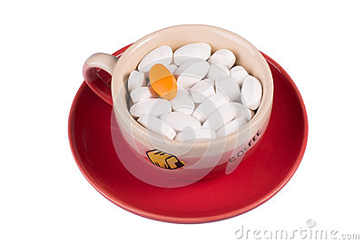 Pills In A Cup Of Coffee Stock Photo - Image: 29131000