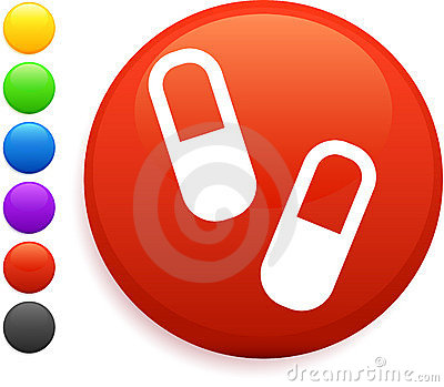 Pills icon on round internet button