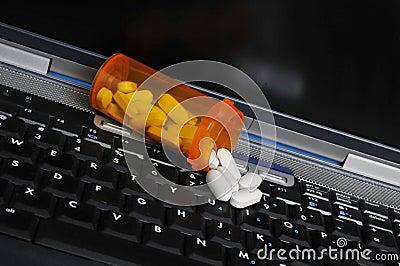 Pills on Laptop Computer