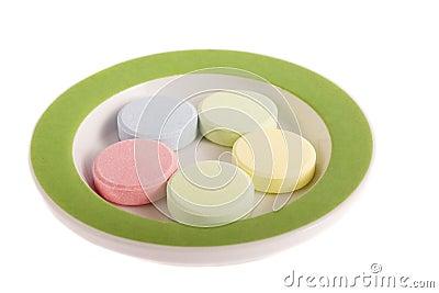 Pills on saucer