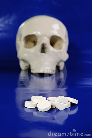 Pills and skull