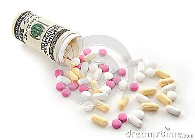 Pills spilled from a bottle made of money