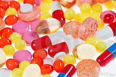 Pills, tablets and drugs, medical background