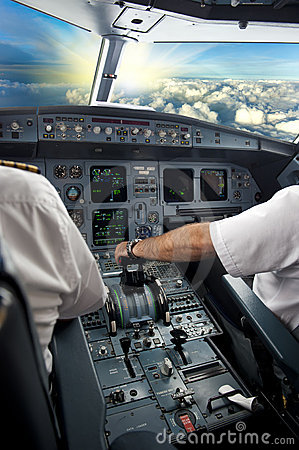 Pilot on airplane