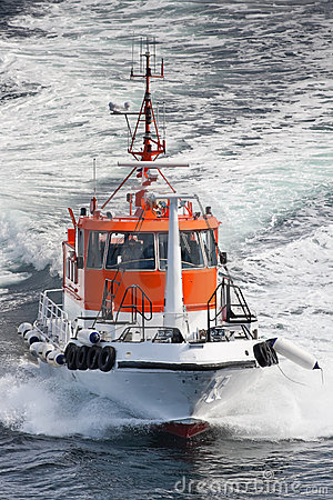 Pilot boat in the sea