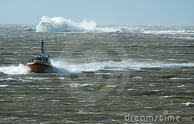 Pilot boat in a storm