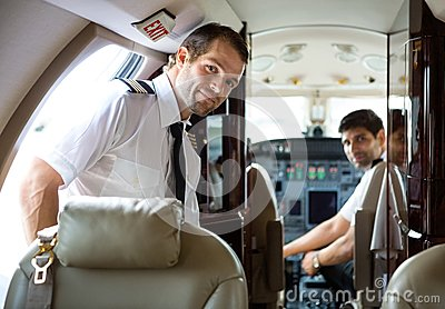 Pilot Entering Private Jet