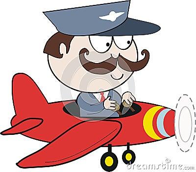 Pilot in plane cartoon
