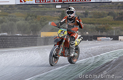 Pilot Spanish championship supermotard Editorial Stock Photo