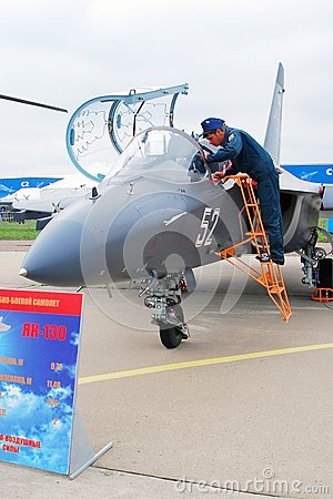 A pilot stand by YAK-130 airplane Editorial Photography