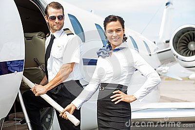 Pilot and Stewardess on Private Jet
