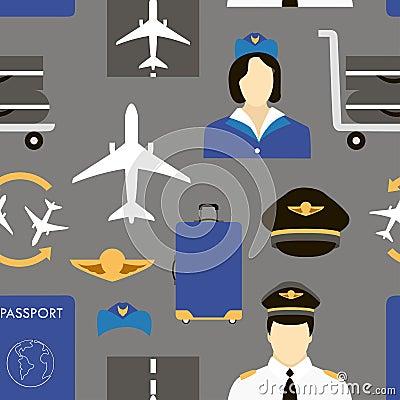 Pilot and stewardess at work Vector Illustration