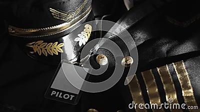 Pilot uniform  profession  airline  crew aviator professional. Captain stock video