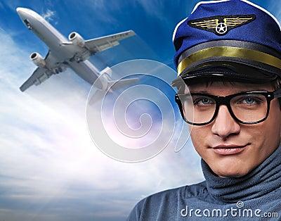 Piloto contra el plano del vuelo