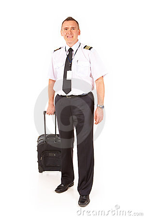 Piloto da linha aérea com trole
