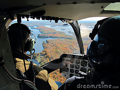 Pilots in the helicopter