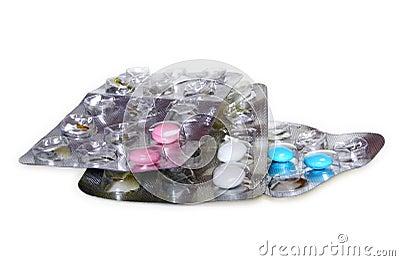 Pilules dans le habillage transparent