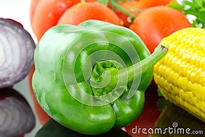 Pimenta verde com vegetais
