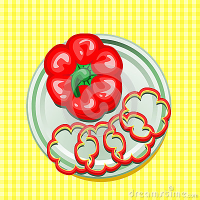 Pimienta dulce roja en una placa con las rebanadas