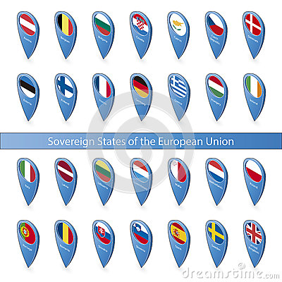 Pin flags of the European Union