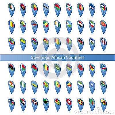 Pin flags of the Sovereign African Countries