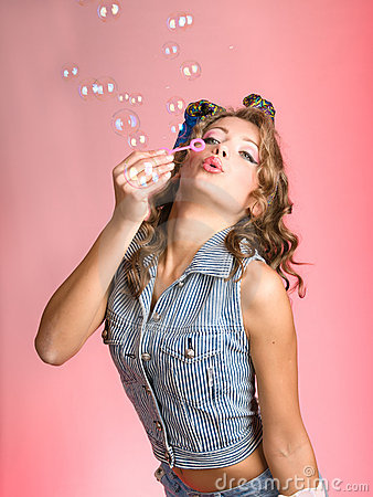 Free Pin-up Girl And Blows Bubbles Royalty Free Stock Image - 16641756