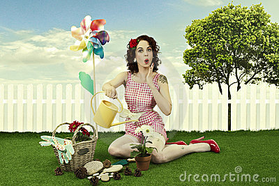 Pin up girl gardening