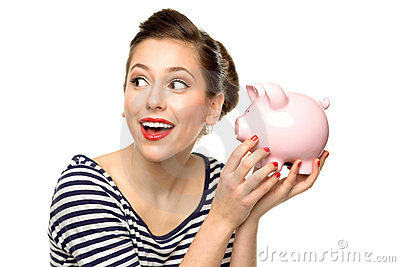 Pin-up girl holding piggybank