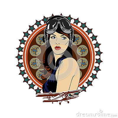 Free Pin Up Girl Pilot Aviation Army Beauty Retro Comic Vintage Emblem Royalty Free Stock Images - 67734229