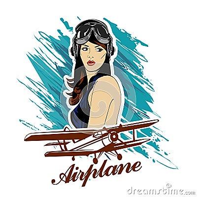 Free Pin Up Girl Pilot Aviation Army Beauty Retro Comic Vintage Emblem Royalty Free Stock Photo - 68928005