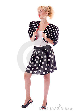 Pin-up girl in Polka dot suit