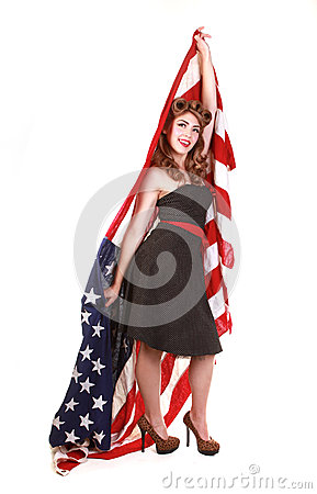 Pin Up Girl in Studio With American Flag