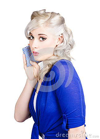 Pin up girl whispering with handkerchief