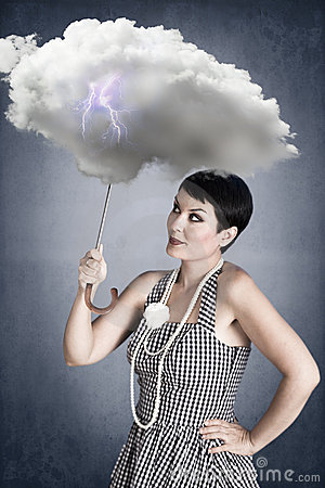 Free Pin-up Girl With Cloud Umbrella Under Storm Stock Photos - 20692123