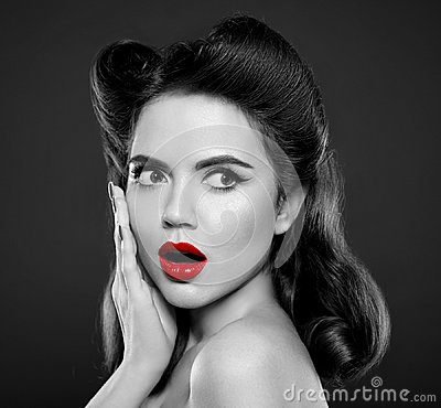 Free Pin Up Girl With Red Lips. Wow Face Expressions Emotion. Retro V Royalty Free Stock Photo - 114216735
