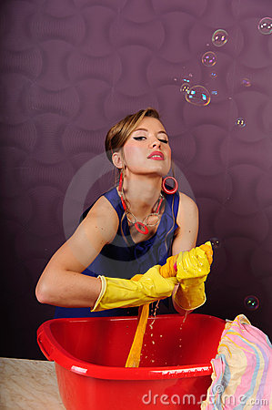 Pin up housewife wash clothes