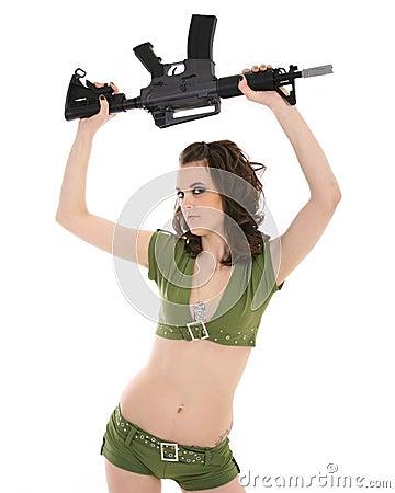 Pin-up model waving rifle