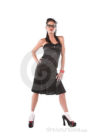 Pin Up Model In Polka Dot Dress