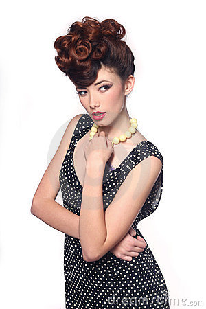Pin Up Style Girl In Studio Royalty Free Stock Photo - Image: 24013715