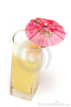 Pina colada cocktail with umbrella