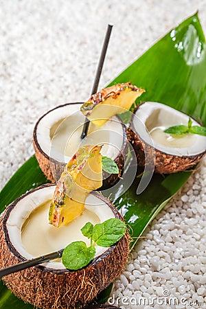 Pinacolada in a coconut
