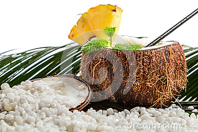 Pinacolada In The Fresh Coconut On Beach Stock Images - Image: 28931484