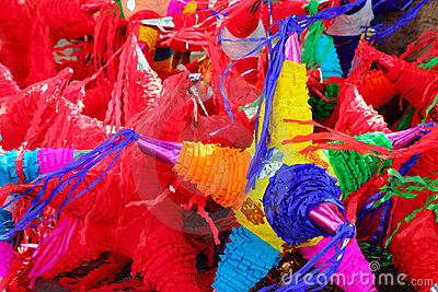 Pinatas star shape mexican traditional celebration