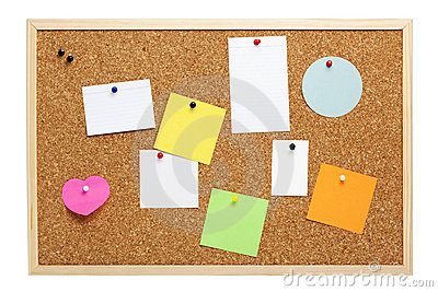 Pinboard with various blank notes and cards