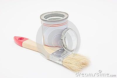 pinceau avec le pot de peinture images stock image 34236794. Black Bedroom Furniture Sets. Home Design Ideas