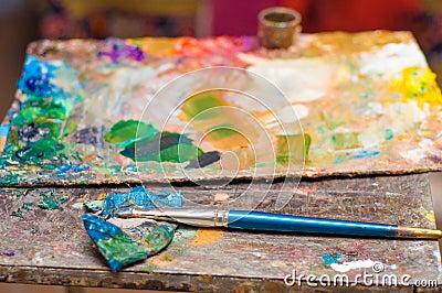 Pinceau Palette De Couleurs La Vie Toujours Atelier D 39 Art Photo Stock Image 65720497